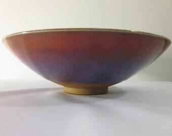 Signed and Enameled Decorative Stoneware Bowl