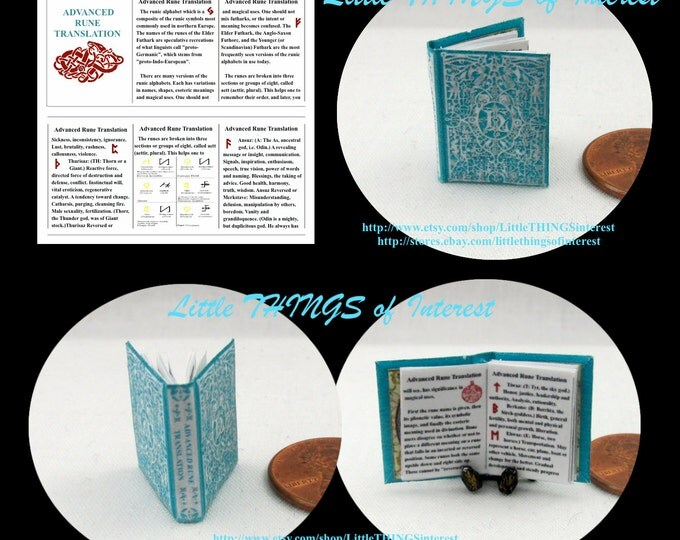 ADVANCED RUNE TRANSLATION Magical Textbook Miniature Book Dollhouse 1:12 Scale Illustrated Readable Book Harry Potter Witch Fortune Teller
