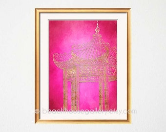 Pink Pagoda Art, Pink Gold Wall Art, Chinoiserie, Palm Beach Chic, Hollywood Regency, Gold Wall Art, Temple, Asian Architecture