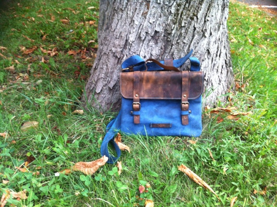 Blue Summer IPad Briefcase, 13' laptop bag, School Bag, Genuine Leather Briefcase,Handmade IPad Bag, IPad sleeve, Tablet Bag,