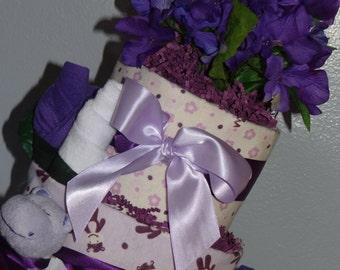 Purple Hippo Diaper Cake