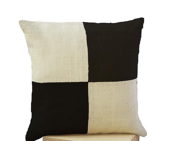 Items similar to Burlap Throw Pillow - Cream Black Pillow color block - Ivory Black Decorative ...