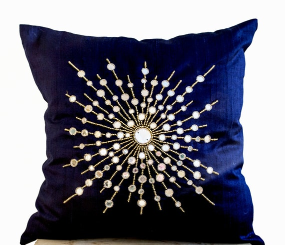Premium Pure Navy Blue Silk Pillow Cover Mirror Embroidery