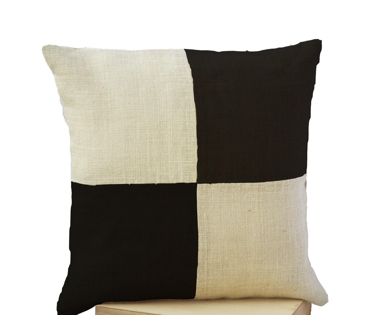 Ivory Colored Decorative Pillows : Burlap Pillow Cream Black Pillow Color Block Ivory Black