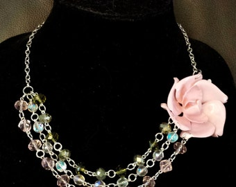 Vintage Upcycle Pink Enamel Flower Brooch Silver Three Strand Necklace