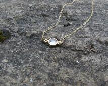 14K Gold, Bezel Swarovski Crystal - Small Round Clear Crystal - Simple Gem Jewelry - Silver Chain, Classic and Simple Tiny Diamond, Giada