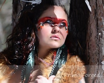 Feather Mohawk/Large Mohawk/Festival Headdress/Festival Mohawk/Pagan Mohawk/Tribal Mohawk