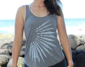 Needlefish Tank Top - Sun rays and intricate geometric line art print - White screen print on 9 available American Apparel colors. xs - XL.