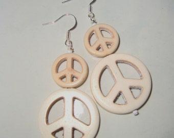 Beige Peace Sign Earrings, Handmade