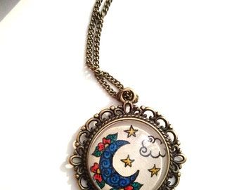 Moon & Stars Necklace Celestial Art Floral Design Henna Mehndi Vintage Style Hand Drawn Handmade Jewelry Lasting Love Symbolism