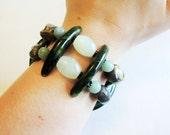 Dark Green, Light Green, and Antiqued Brass Double Elastic Bangle Bracelet Handmade by Lindsey - Tribal Bracelet - Boho Chic Bracelet
