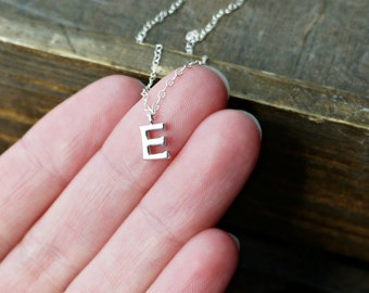 Silver Initial Necklace / Tiny Letter Pendant on a Sterling Silver Chain ... choose your Capital Letter