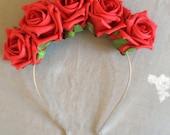 Ladies/girls Red Faux Rose Flower Crown Lana Del Rey Pin Up Hair band