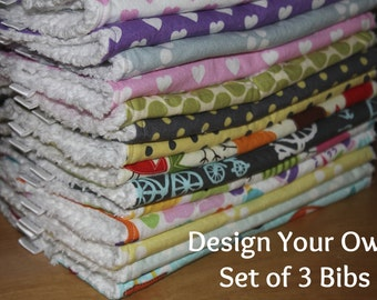 DESIGN YOUR OWN - Set of 3 Baby/Toddler Chenille Bibs - You Choose Your Fabric