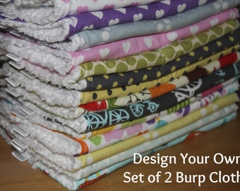 DESIGN YOUR OWN - Set of 2 Cloth Diaper Burp Cloths - You Choose Your Fabric