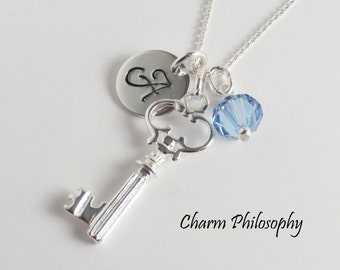 Personalized Key Necklace - Hand Stamped Initial - Swarovski Birthstone Bead - 925 Sterling Silver Jewelry