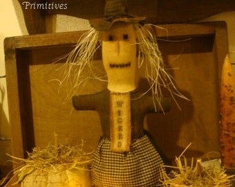 Primitive Witch Halloween Stump Doll