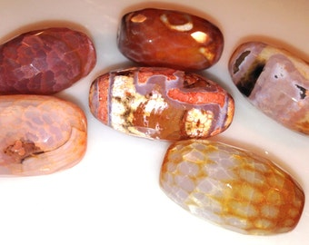Fancy Faceted Barrel Agate Bead 20X30MM Dome Height Brown Earth Tones Orange Red Yellow