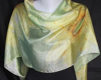 Hand painted long silk scarf / shawl - yellow chrysanthemums