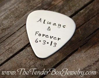 Personalized guitar pick hand stamped guitar pick Father's Day