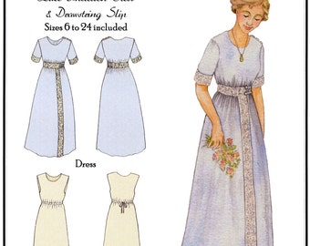 1910s Lace Insertion Dress & Drawstring Slip sizes 6-24 - Hint of History Sewing Pattern  # 103