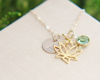 Lotus Necklace, Personalized Lotus necklace, Gold Lotus Necklace, Lotus Jewelry, Birthstone Personalized Jewelry,Yoga Necklace,Gold Necklace