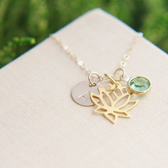 personalized lotus necklace