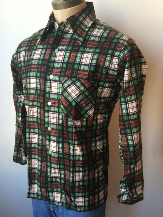 Vintage mens 1970s kmart black brown green white by for Brown and black plaid shirt