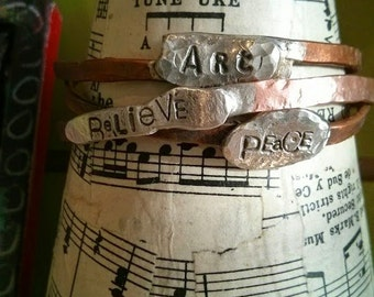 Organic Hammered Copper Bangle with Word