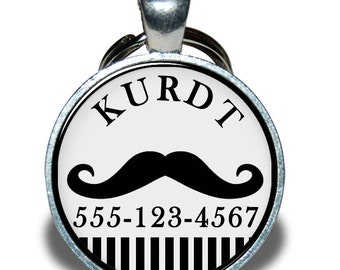 Pet ID Tag - Mustache Hipster - Dog tag, Cat Tag, Pet Tag