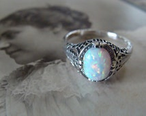 Lovely Sterling Filigree Opal Ring Size 7.75 Antique design