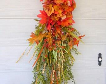 Elegant Autumn Door Swag - Fall Wreath -Thanksgiving decor - Door decor - Rust Hydrangea - Fall Door Swag - Fall Decroations