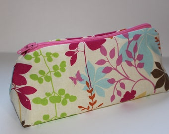 Pink, Green & Blue Floral on Tan Zippered Pouch - Pink Zip and Yellow Lining