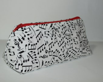 Zippered Flat Bottom Makeup Bag Pencil Case Music Print with Red