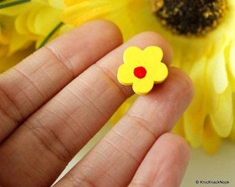 Yellow Flower Wood Beads x 10