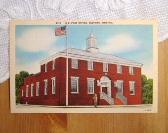 Vintage Postcard, U.S. Post Office, Radford, Virginia - 1940s Paper Ephemera