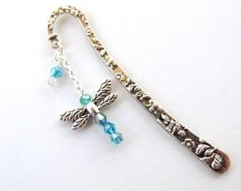 Dragonfly Bookmark, Metal Bookmark, Beaded Bookmark, Books and Zines, Dragonfly Charm Bookmark. A263