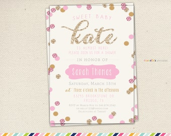 Girl Baby Shower Invitation - Gold and Pink Sparkle Glitter