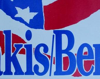 1988 Dukakis/Bentsen bumper sticker/Democrats/Politics/1988 election/collectible/cool men's gift
