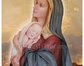 Madonna and Child (E) Catholic Art Print Blessed Virgin Mary, Our Lady, Mother's Day #4026