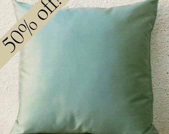 """Sea foam Colored Silk Dupioni Pillow Cover - 15 x 15  - """"HALF PRICE SALE"""" -  s25F"""
