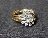 Beautiful Vintage 1950s Diamond Engagement Ring in Platinum with Diamond Ring Guard in 18 Karat Gold - Both Size 6, ~~by Victorian Wardrobe