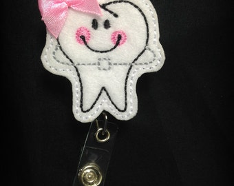 Tooth Badge Reel-Dental Assistant Id holder- Dental Hygienist Retractable Badge Holder-Dental Badge