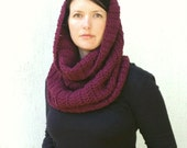 Cranberry  Red Scarf, Handmade Cowl,  Crochet Scarf, Chunky Snood/Shrug in Burgundy red, Wine Red wool scarf, Garnet, hand knit by VeraJayne