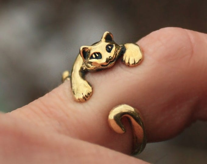 Bronze Cat Kitten Chasing Tail Hugger Adjustable Size Ring