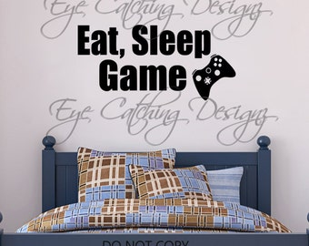 Eat Sleep Game Video Games Toy Room Playroom Man Cave Bedroom Lettering Wall Decal Vinyl Sticker Art Xbox