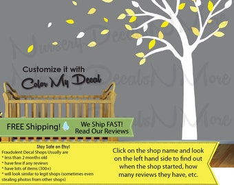 Yellow and Gray Blowing Tree Wall Decal, Tree with blowing leaves - Nursery Decal (Yellow Gray Blowing Tree) BTO