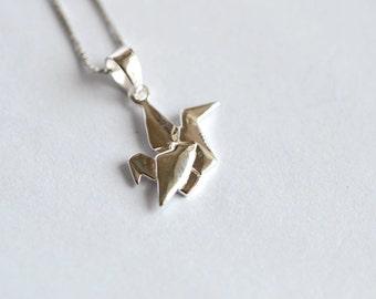 925 Sterling Silver Paper Crane Wish Silver Pendant 537