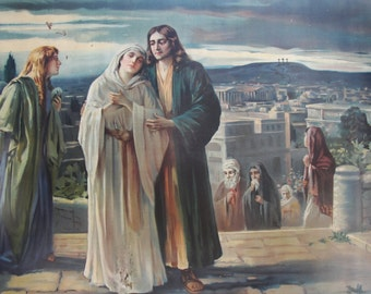 The Return From Calvary by Herbert Schmalz, Nice Find, Scarce and Old Tin Lithograph