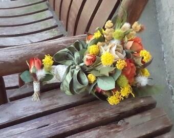 Burnt Orange Silk Bridal Bouquet / Grooms Boutonniere / Country Wedding / Fall Wedding / Rustic Wedding / Country Bridal Bouquet
